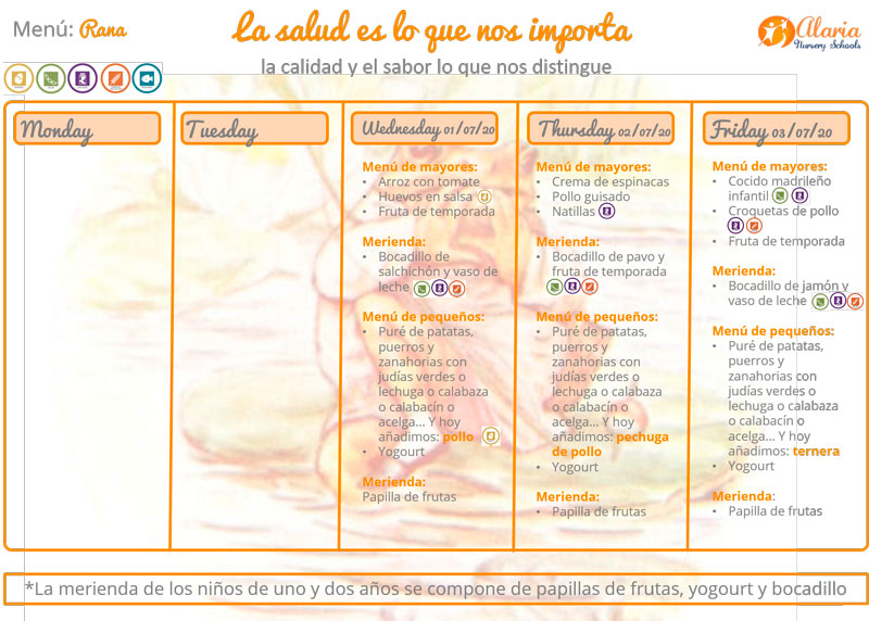 Calendario Menús semanales de Summer Camp